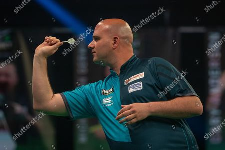 Rob Cross (England) during the Betway Premier League Darts Night Eight at Marshall Arena, Milton Keynes