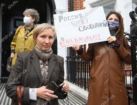 Marina Litvinenko, widow of former Russian intelligence agent Alexander Litvinenko attends a demonstration organized by the group 'Art of Rebel' outside the Russian embassy in London, Britain, 21 April 2021. Rallies supporting Navalny take place in several cities in Europe. Russian opposition leader Alexei Navalny has been transferred from the penal colony No. 2 (IK-2) in Pokrov, Vladimir region, to the regional prison hospital in IK-3 in Vladimir for receiving vitamin therapy. The decision was taken amid Navalny's hunger strike and announced by his team members fearing for his life.