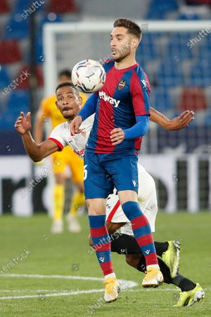Ruben Rochina of Levante UD and Fernando Francisco Reges of Sevilla FC