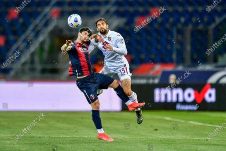 Header of Roberto Soriano (Bologna FC) and Ricardo Rodriguez (Torino FC)