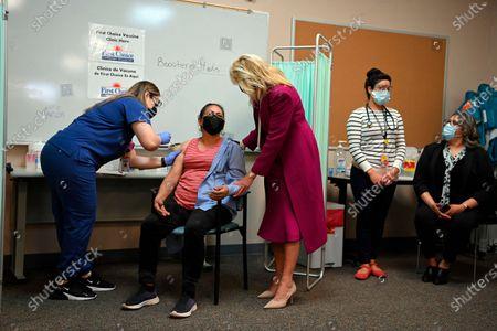 Jill Biden visits a COVID-19 vaccination center, Albuquerque