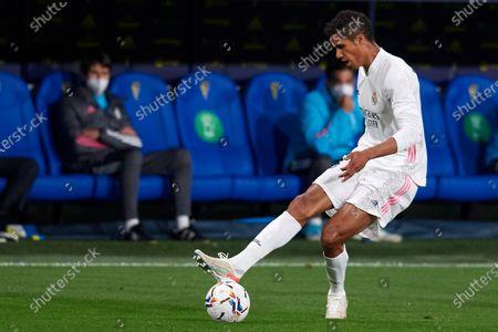 Raphael Varane of Real Madrid does passed during the La Liga Santander match between Cadiz CF and Real Madrid at Estadio Ramon de Carranza on April 21, 2021 in Cadiz, Spain.