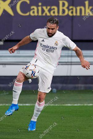 Daniel Carvajal of Real Madrid controls the ball during the La Liga Santander match between Cadiz CF and Real Madrid at Estadio Ramon de Carranza on April 21, 2021 in Cadiz, Spain.