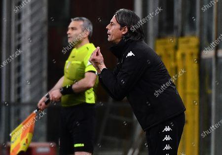 Benevento's coach Filippo Inzaghi gestures during the Italian Serie A soccer match Genoa CFC vs Benevento Calcio at Luigi Ferraris stadium in Genoa, Italy, 21 April 2021.