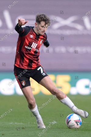 David Brooks of AFC Bournemouth in action during the Sky Bet Championship, Championship match between Millwall and AFC Bournemouth at The Den in London - 21st April 2021