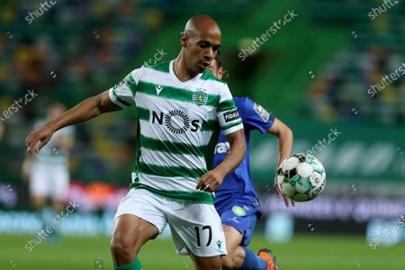 Joao Mario of Sporting CP in action during the Portuguese League football match between Sporting CP and Belenenses SAD at Jose Alvalade stadium in Lisbon, Portugal on April 21, 2021.
