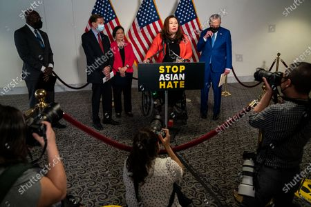 Sen. Tammy Duckworth (D-IL) speaks at a news conference following a Senate Democratic policy luncheon on Capitol Hill on Tuesday, April 20, 2021 in Washington, DC. (Kent Nishimura / Los Angeles Times)