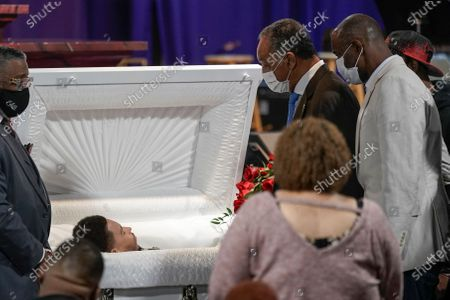 Stock Photo of Rev. Jesse Jackson pauses to pay his respects for Daunte Wright during a visitation, in Minneapolis. Daunte Wright was fatally shot by a police officer during a traffic stop