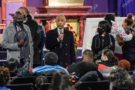 Rev. Al Sharpton speaks during a visitation for Daunte Wright, in Minneapolis. Daunte Wright was fatally shot by a police officer during a traffic stop