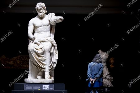 A statue of Jupiter is displayed in the exhibition 'Mesopotamia: Civilization Begins' at the J. Paul Getty Museum as the Getty Villa reopens to the public after being closed due to the coronavirus pandemic in Los Angeles, California, USA, 21 April 2021. The exhibition runs from April 21 to August 16, 2021.