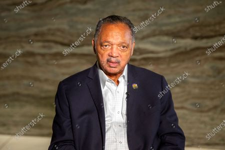 Rev. Jesse Jackson sits for an interview in Minneapolis, Minnesota, on