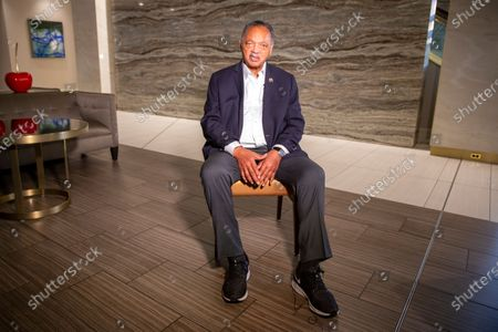 Stock Image of Rev. Jesse Jackson sits for an interview in Minneapolis, Minnesota, on