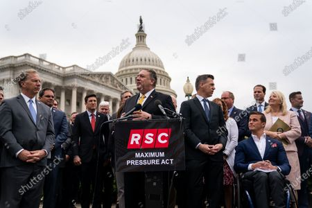 Former Secretary of State Mike Pompeo, attends a Republican Study Committee news conference on Capitol Hill on Wednesday, April 21, 2021 in Washington, DC. (Kent Nishimura / Los Angeles Times)