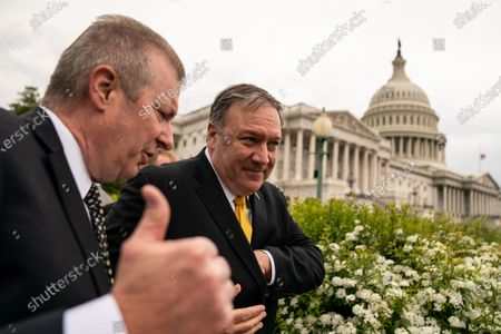 Former Secretary of State Mike Pompeo, leaves a Republican Study Committee news conference on Capitol Hill on Wednesday, April 21, 2021 in Washington, DC. (Kent Nishimura / Los Angeles Times)