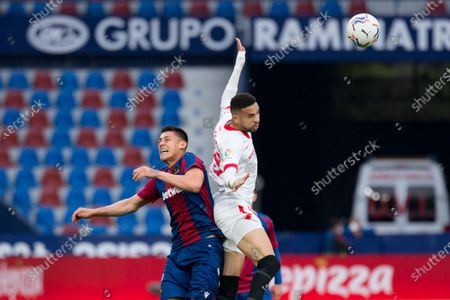 Oscar Esau Duarte of Levante UD and Youssef En Nesyri of Sevilla FC are seen in action during the Spanish La Liga football match between Levante and Sevilla at Ciutat de Valencia stadium. (Final score; Levante UD 0:1 Sevilla FC)