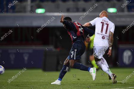 "Adama Soumaoro (Bologna)Simone Zaza (Torino)        during the Italian ""Serie A"" match between Bologna 1-1 Torino  at  Renato Dall Ara Stadium in Bologna , Italy."