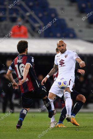 "Simone Zaza (Torino)Andrea Poli (Bologna)        during the Italian ""Serie A"" match between Bologna 1-1 Torino  at  Renato Dall Ara Stadium in Bologna , Italy."
