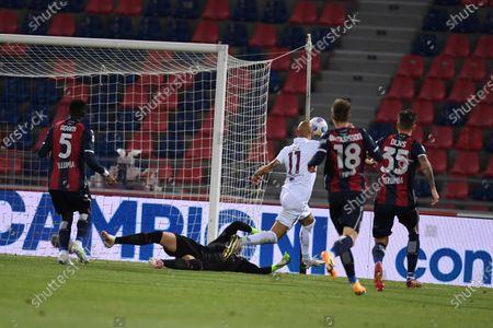 "Simone Zaza (Torino)Lukasz Skorupski (Bologna)        during the Italian ""Serie A"" match between Bologna 1-1 Torino  at  Renato Dall Ara Stadium in Bologna , Italy."