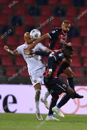 "Simone Zaza (Torino)Danilo Langeria (Bologna)Adama Soumaoro (Bologna)        during the Italian ""Serie A"" match between Bologna 1-1 Torino  at  Renato Dall Ara Stadium in Bologna , Italy."