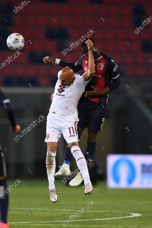 "Simone Zaza (Torino)Adama Soumaoro (Bologna)        during the Italian ""Serie A"" match between Bologna 1-1 Torino  at  Renato Dall Ara Stadium in Bologna , Italy."