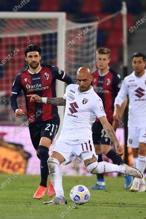 "Simone Zaza (Torino)Roberto Soriano (Bologna)          during the Italian ""Serie A"" match between Bologna 1-1 Torino  at  Renato Dall Ara Stadium in Bologna , Italy."