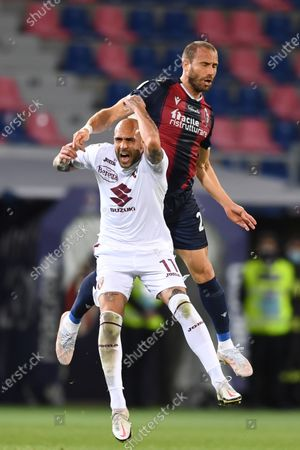 "Simone Zaza (Torino)Lorenzo De Silvestri (Bologna)        during the Italian ""Serie A"" match between Bologna 1-1 Torino  at  Renato Dall Ara Stadium in Bologna , Italy."