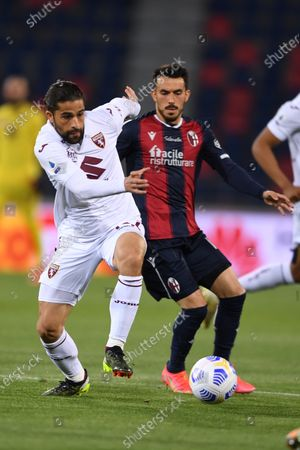 "Ricardo Rodriguez (Torino)Nicola Sansone (Bologna)       during the Italian ""Serie A"" match between Bologna 1-1 Torino  at  Renato Dall Ara Stadium in Bologna , Italy."