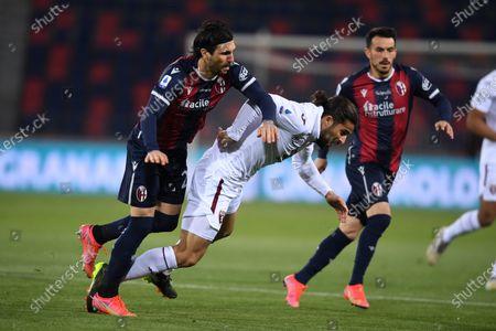 "Ricardo Rodriguez (Torino)Roberto Soriano (Bologna)Nicola Sansone (Bologna)        during the Italian ""Serie A"" match between Bologna 1-1 Torino  at  Renato Dall Ara Stadium in Bologna , Italy."
