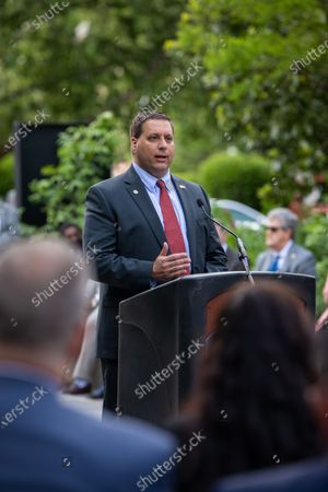 Representative David Willis speaks at the Wounded Heroes Day Celebration in Raleigh, North Carolina, on Wednesday, April 21, 2021. Willis co-authored HB138, a bill honoring Sgt. Michael Verardo's Alive Day. An Alive Day marks the anniversary of when a veteran almost lost their life in combat.
