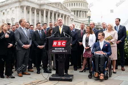 Former U.S. Secretary of State Mike Pompeo speaking at a press conference about the Republican Study Committee's proposed Iran related legislation.