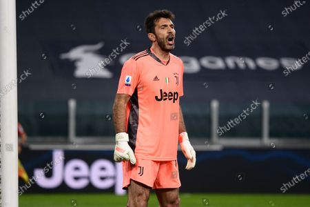 Gianluigi Buffon of Juventus FC reacts during the Serie A football match between Juventus  and Parma Calcio Sporting stadiums around Italy remain under strict restrictions due to the Coronavirus Pandemic as Government social distancing laws prohibit fans inside venues resulting in games being played behind closed doors. Juventus won 3-1 over Parma Calcio