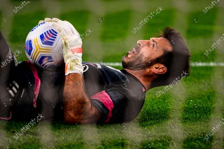 Gianluigi Buffon of Juventus FC behind the net during the Serie A football match between Juventus  and Parma Calcio Sporting stadiums around Italy remain under strict restrictions due to the Coronavirus Pandemic as Government social distancing laws prohibit fans inside venues resulting in games being played behind closed doors. Juventus won 3-1 over Parma Calcio