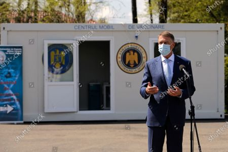 Stock Image of (210422) - BUCHAREST, April 22, 2021 (Xinhua) - Romania's President Klaus Iohannis speaks at the inauguration of a mobile vaccination center near Bucharest, Romania, April 21, 2021.