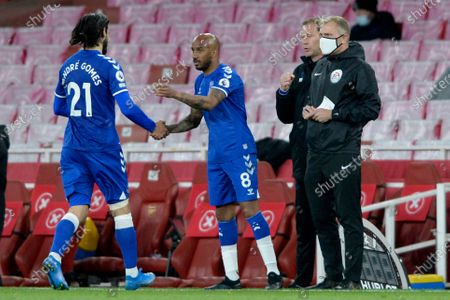 (R-L) Fabian Delph of Everton replaces Andre Gomes during Premier League match between Arsenal and Everton at the Emirates Stadium in London - 23rd April 2021