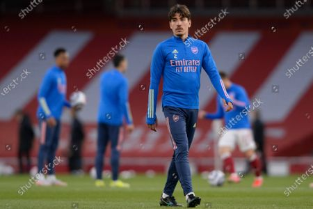 Hector Bellerin of Arsenal during the warm up before Premier League match between Arsenal and Everton at the Emirates Stadium in London - 23rd April 2021