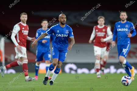 Fabian Delph of Everton in action during Premier League match between Arsenal and Everton at the Emirates Stadium in London - 23rd April 2021