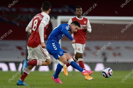 James Rodriguez of Everton in action during Premier League match between Arsenal and Everton at the Emirates Stadium in London - 23rd April 2021