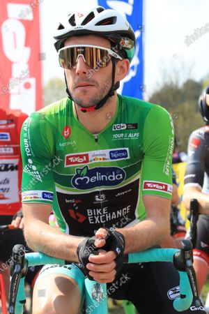 Stock Photo of Simon Yates Team BikeExchange awaits the stage start; Cycling Tour des Alpes Stage 5, Valle del Chiese to Riva del Garda, Italy.