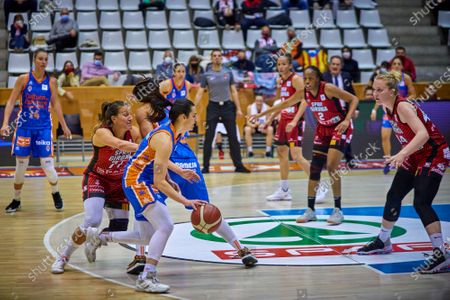 Leticia Romero of Valencia Basket and Paola Ferrari of Spar Girona in action during match one of Semifinals of the Womens League Spain Basketball between Spar Girona and Valencia Basket at Fontajau Pavilion on April 21, 2021 in Girona, Spain.