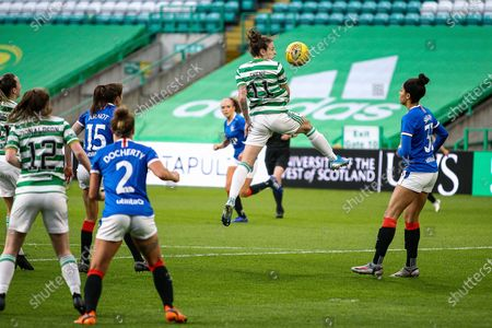 Stock Photo of Sarah Ewens (#11) of Celtic Women FC with a header from close range during the Scottish Building Society SWPL1 Fixture Celtic FC vs Rangers FC, Celtic Park, Glasgow. 21/04/2021