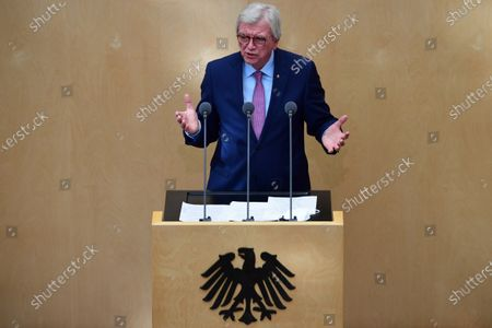 Hesse State Premier Volker Bouffier speaks during a session of the German Federal Council 'Bundesrat' in Berlin, Germany, 22 April 2021. The German Federal Council consults about a change of the Protection against Infection Act (Infektionsschutzgesetz) that was resolved on 21 April 2021 at the German Parliament 'Bundestag'. With the changes discussed, the federal government shall be granted with more power regarding the enforcement of Coronavirus measures in the federal states.