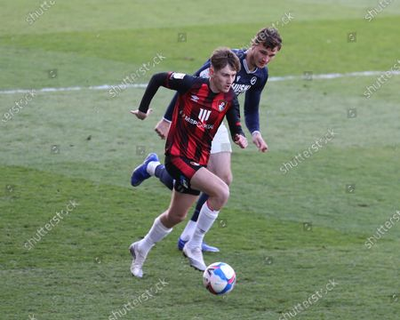 David Brooks of AFC Bournemouth  during The Sky Bet Championship between Millwall and AFC Bournemouth at The Den Stadium, London on  21st April, 2021
