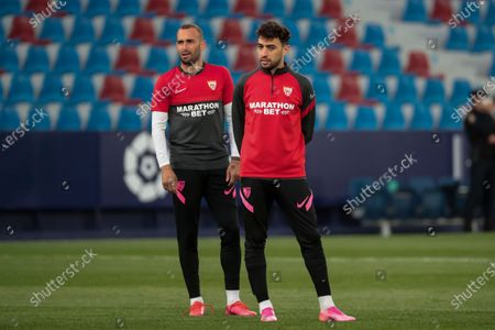 Munir el Haddadi  of Sevilla FC (R)  before  spanish La Liga match between Levante UD  and  Sevilla  FC  at Ciutat de Valencia  Stadium on April 21, 2021.