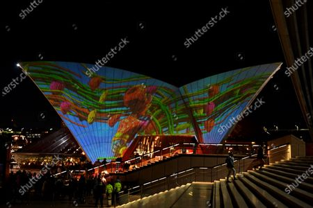 First Nations images are projected onto the sails of the Sydney Opera House