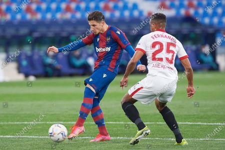 Enis Bardhi of Levante UD and Fernando Reges Mouta of Sevilla