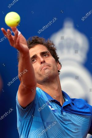Spain's Albert Ramos Vinolas in action against Russia's Andrey Rublev during their third round match of the Barcelona Open Banc Sabadell - Conde de Godo tennis tournament in Barcelona, Spain, 22 April 2021.