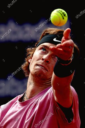 Stock Photo of Russia's Andrey Rublev in action against Spain's Albert Ramos Vinolas during their third round match of the Barcelona Open Banc Sabadell - Conde de Godo tennis tournament in Barcelona, Spain, 22 April 2021.