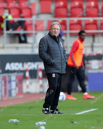 Middesbrough manager Neil Warnock  during the Sky Bet Championship match between Rotherham United and Middlesbrough at the New York Stadium, Rotherham on Wednesday 21st April 2021.