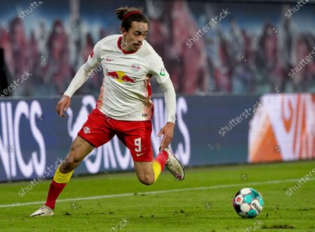 Leipzig's Yussuf Poulsen plays the ball during the German Bundesliga soccer match between RB Leipzig and TSG 1899 Hoffenheim in Leipzig, Germany
