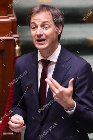 Prime Minister Alexander De Croo pictured during a plenary session of the Chamber at the Federal Parliament in Brussels, Thursday 22 April 2021.